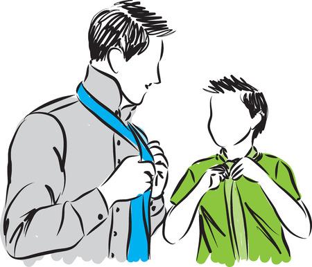 adjusting: father and son adjusting ties illustration