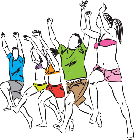 personas corriendo: feliz a la gente correr y saltar en la playa