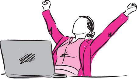 successful businesswoman winner gesture illustration