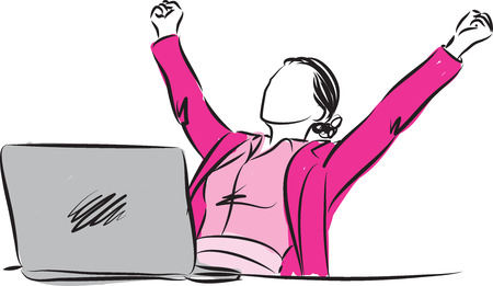 free clip art: successful businesswoman winner gesture illustration