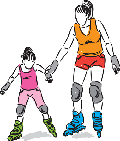 Frau und kleines Mädchen mit Rollschuhen Vektorgrafik