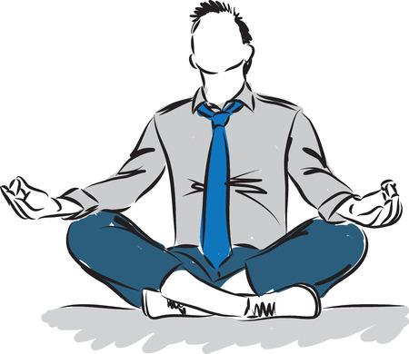 biznesmen w pozycji medytacyjnej ilustracji