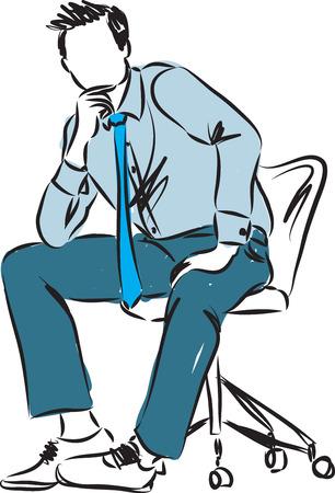 shoes vector: businessman sitting down illustration Illustration