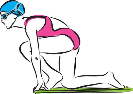 swimmer woman starting illustration