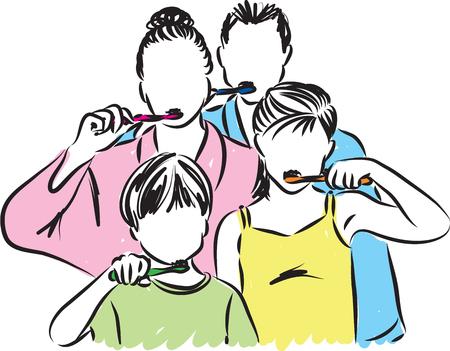 family brushing teeth illustration Illustration