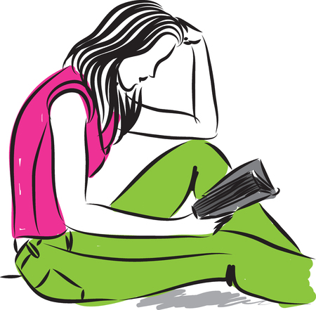 stock photograph: pretty woman reading a book illustration