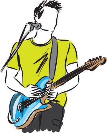 guitar illustration: man with a guitar illustration Illustration