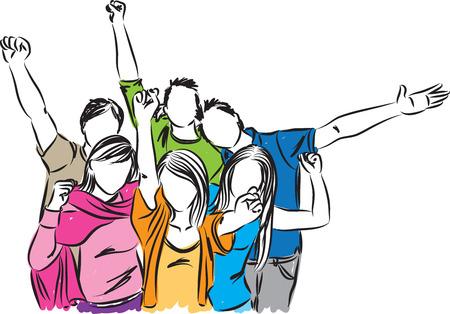 fila de personas: grupo de gente feliz ilustración