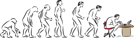 human evolution computer time illustration 矢量图像