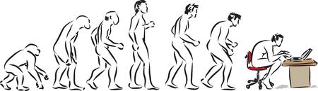 evolucion: la evolución humana tiempo en la computadora ilustración Vectores
