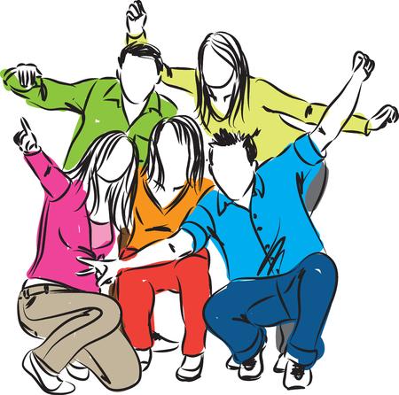 Personas felices juntos Ilustración Foto de archivo - 59774949