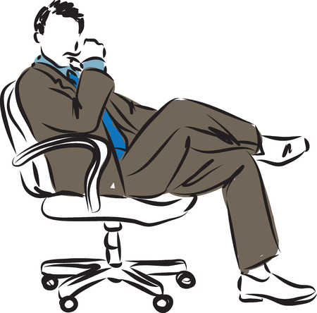 stock photograph: businessman sitting down sucessfull posture illustration