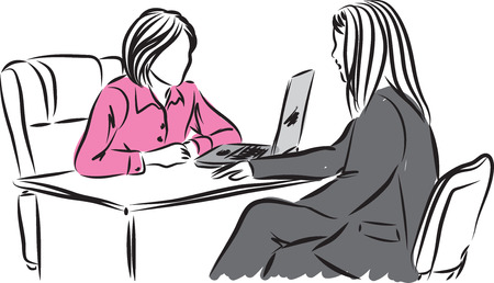vrouw in een sollicitatiegesprek illustratie