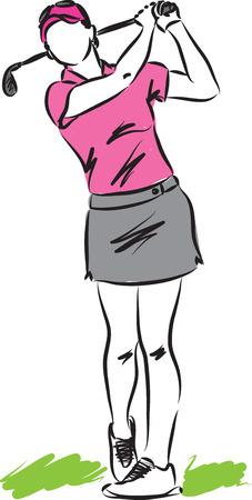 WOMAN 골프 플레이어의 삽화 일러스트