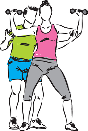 personal trainer: PERSONAL TRAINER MAN AND WOMAN WORKOUT ILLUSTRATION