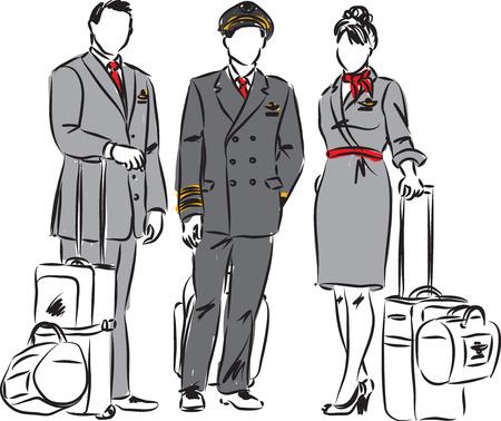 flight crew: flight crew pilots and flight hostess illustration