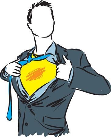ビジネスマンのスーパー ヒーローのイラスト  イラスト・ベクター素材