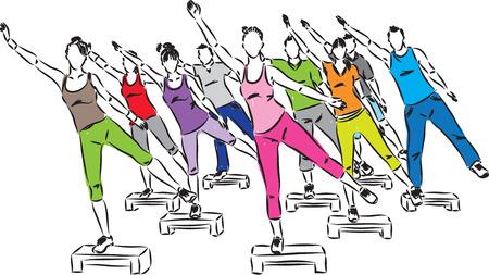 people fitness steps aerobics illustration Vektoros illusztráció