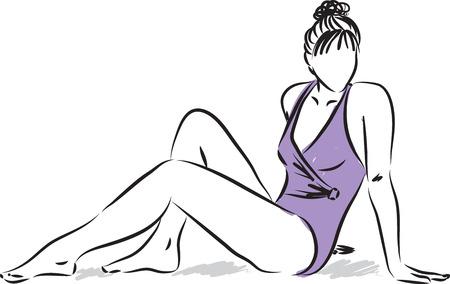 hot girl legs: woman wearing swimming suit illustration Illustration