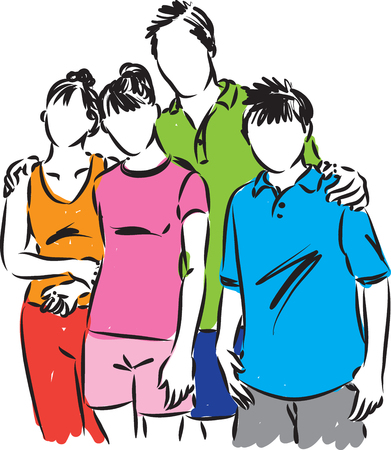 stock photograph: HAPPY FAMILY TOGETHER ILLUSTRATION