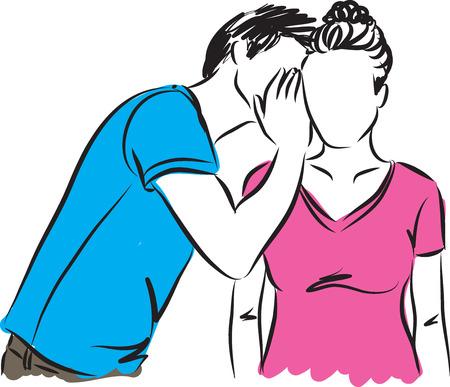 oido: hombre mujer susurrando ilustración