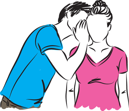 secrets: man whispering woman illustration Illustration