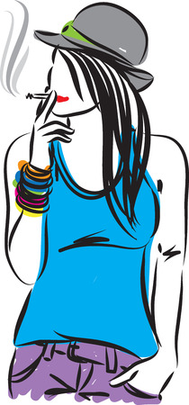 illsutration: PRETTY WOMAN SMOKING ILLSUTRATION Illustration