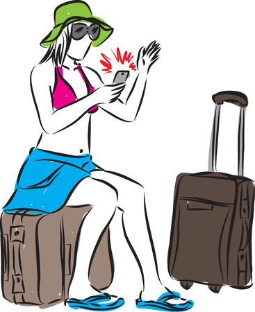 the delayed: woman tourist waiting flight delayed illustration