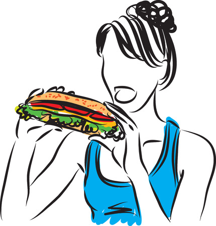 WOMAN EATING BIG SANDWICH ILLUSTRATION