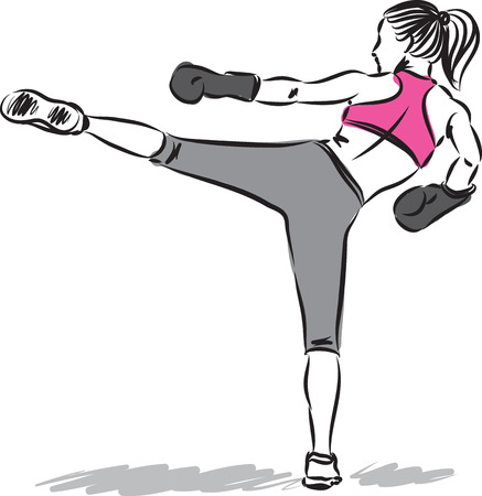 woman fitness kick boxing illustration