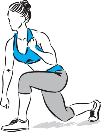 kick boxing: fitness woman stretching kick boxing illustration
