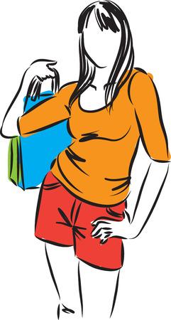 recreational pursuit: woman shopping girl illustration Illustration