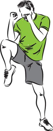 kick boxing: man cardio kick boxing illustration