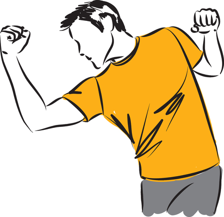 kick boxing: man stretching kick boxing illustration Illustration