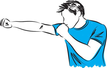 kick boxing: man kick boxing movement fitness illustration