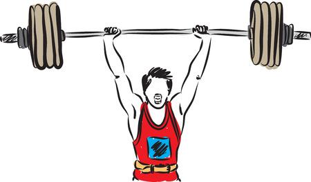 hombre fuerte: levantamiento de pesas hombre ilustración