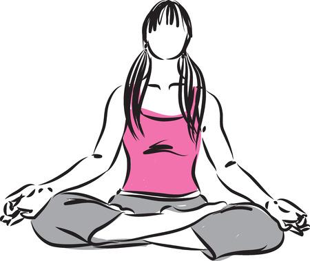 inner peace: woman zen meditation illustration