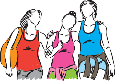 shopping buddies: group of women hanging out together illustration Illustration