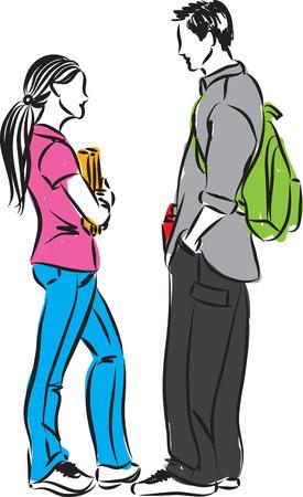 COLLEGE STUDENTS TALKING ILLUSTRATION Illustration