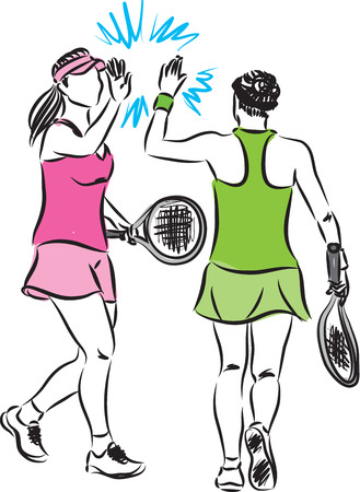 team mate: TENNIS TEAM WOMEN ILLUSTRATION Illustration
