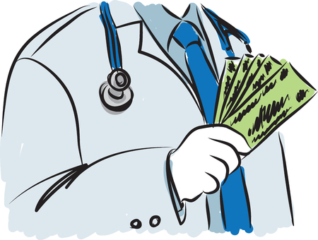 line drawing: doctor with money illustration