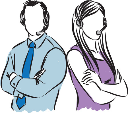 call center female: man and woman call center agents illustration Illustration