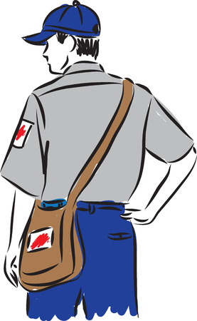 man postman delivery illustration