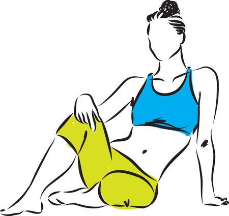 woman fitness sitting down illustration