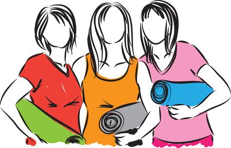 women fitness with yoga mats illustration