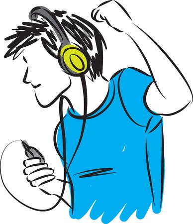 event party festive: man listening music with headphones illustration Illustration