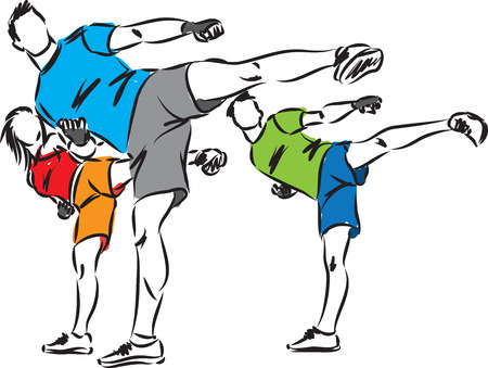 group fitness: kickboxing fitness group illustration