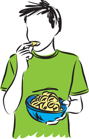 potato chips: boy eating potato chips with a bowl illustration