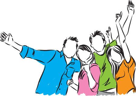 groep van gelukkige mensen illustratie