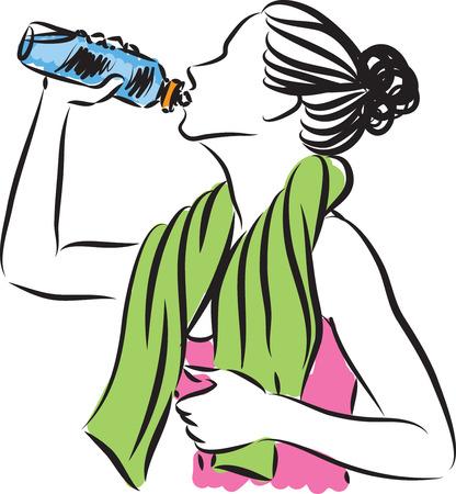beautiful nude woman: fitness woman drinking illustration